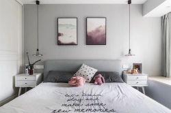 2018北歐風格臥室灰色床頭背景墻設計圖片