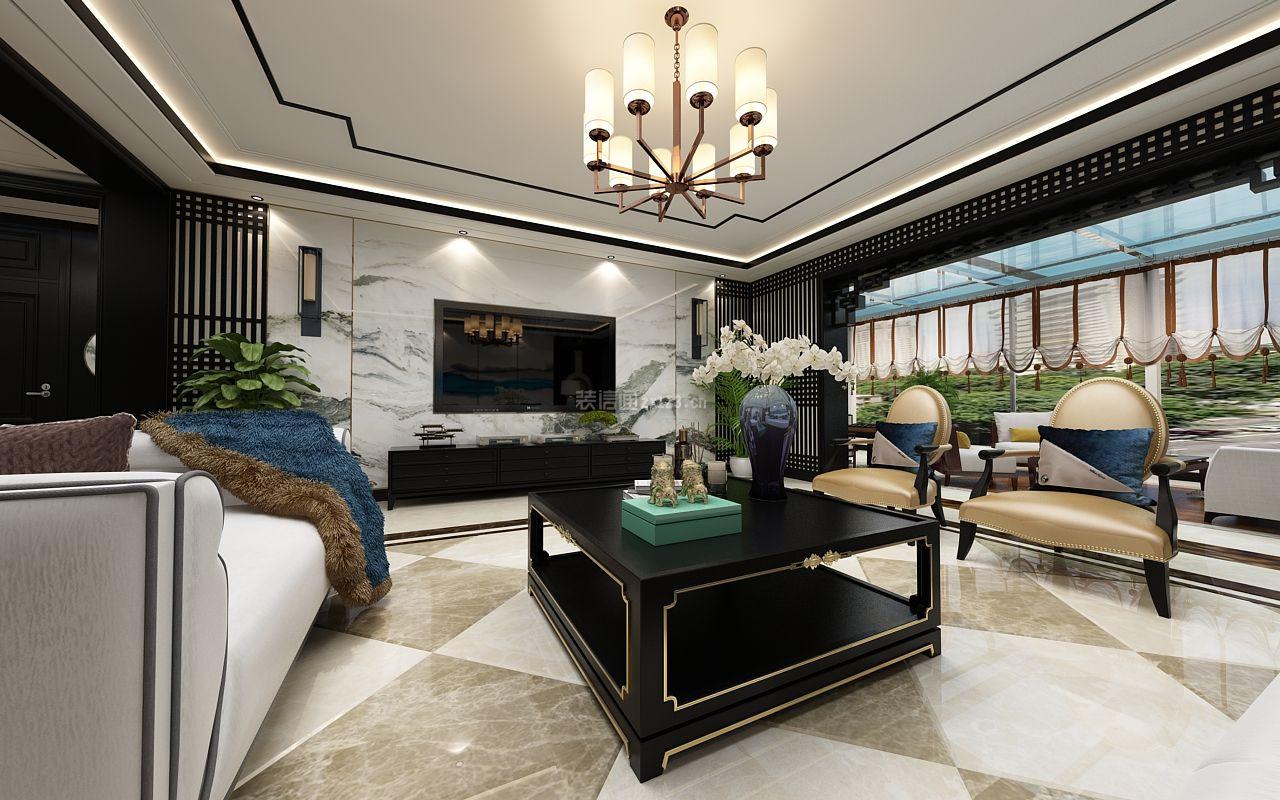 2018新中式风格别墅客厅电视墙设计效果图图片
