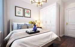 美式簡約風格臥室白色衣柜設計效果圖