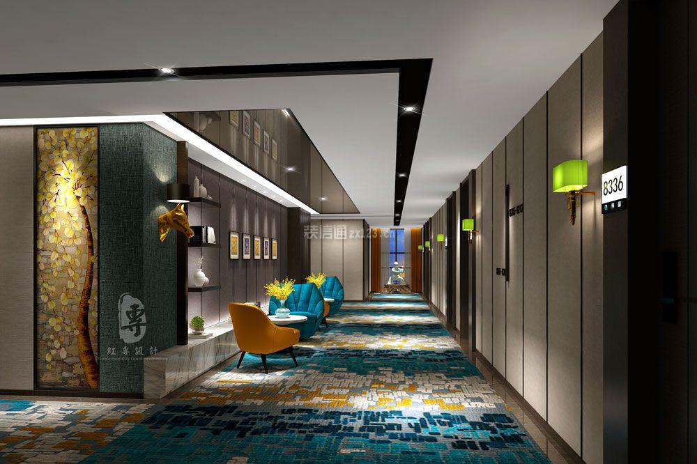 2018现代风格酒店过道装修设计效果图