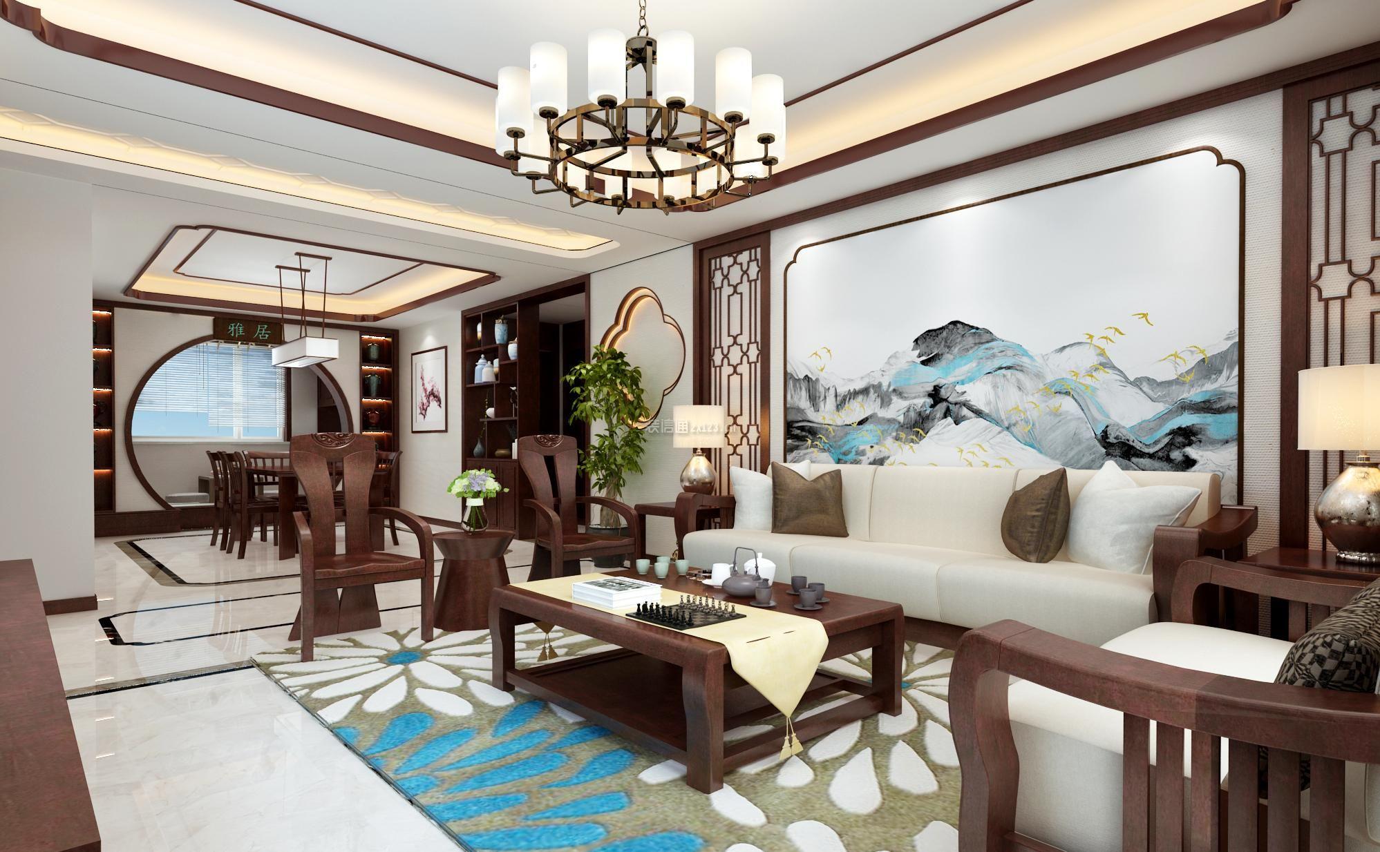 2018新中式风格家庭客厅沙发背景墙装修效果图