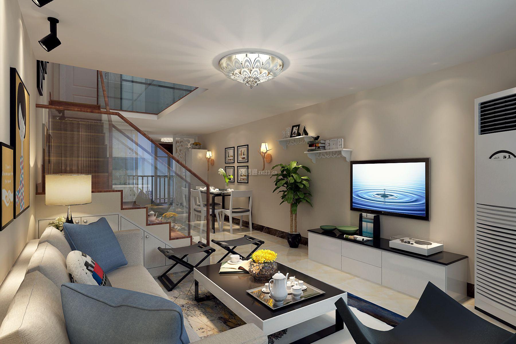 2018现代简约风格客厅电视墙设计效果图