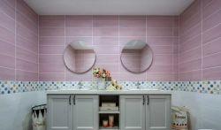 新美式風格衛生間瓷磚背景墻裝修圖片
