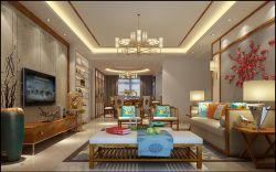140平米四居新中式客廳背景墻設計效果圖