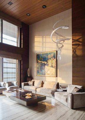 简约风格楼中楼客厅吊灯装修设计图片