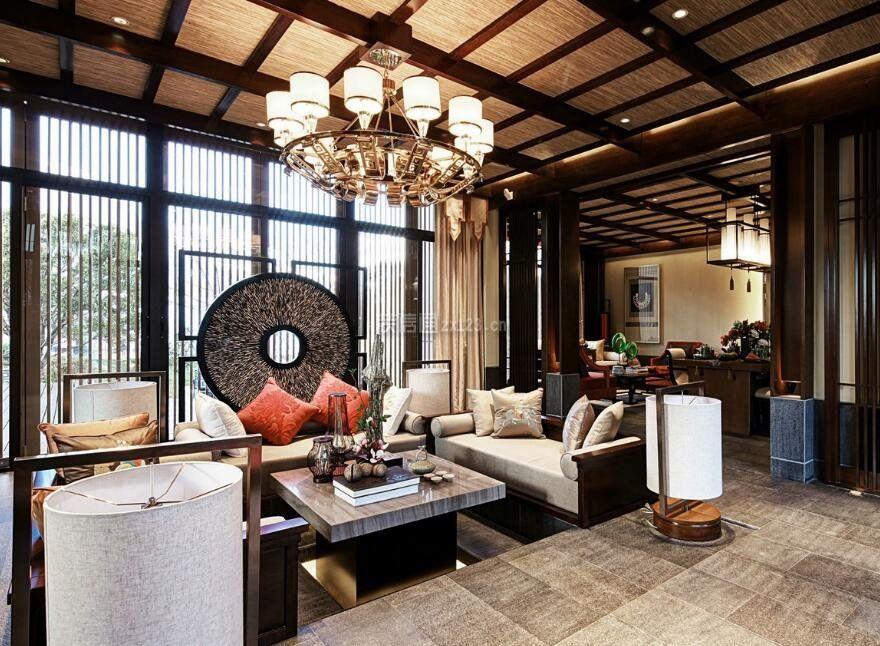 中国古典风格下沉式客厅装修图片_装修123效果图图片