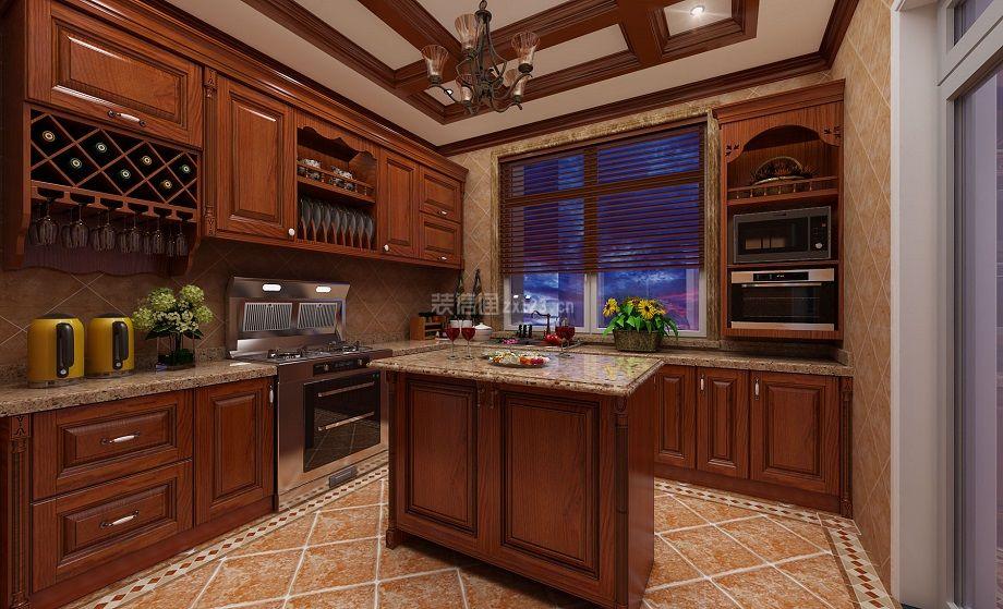 简美式118平米四居厨房橱柜设计效果图_装修123效果图