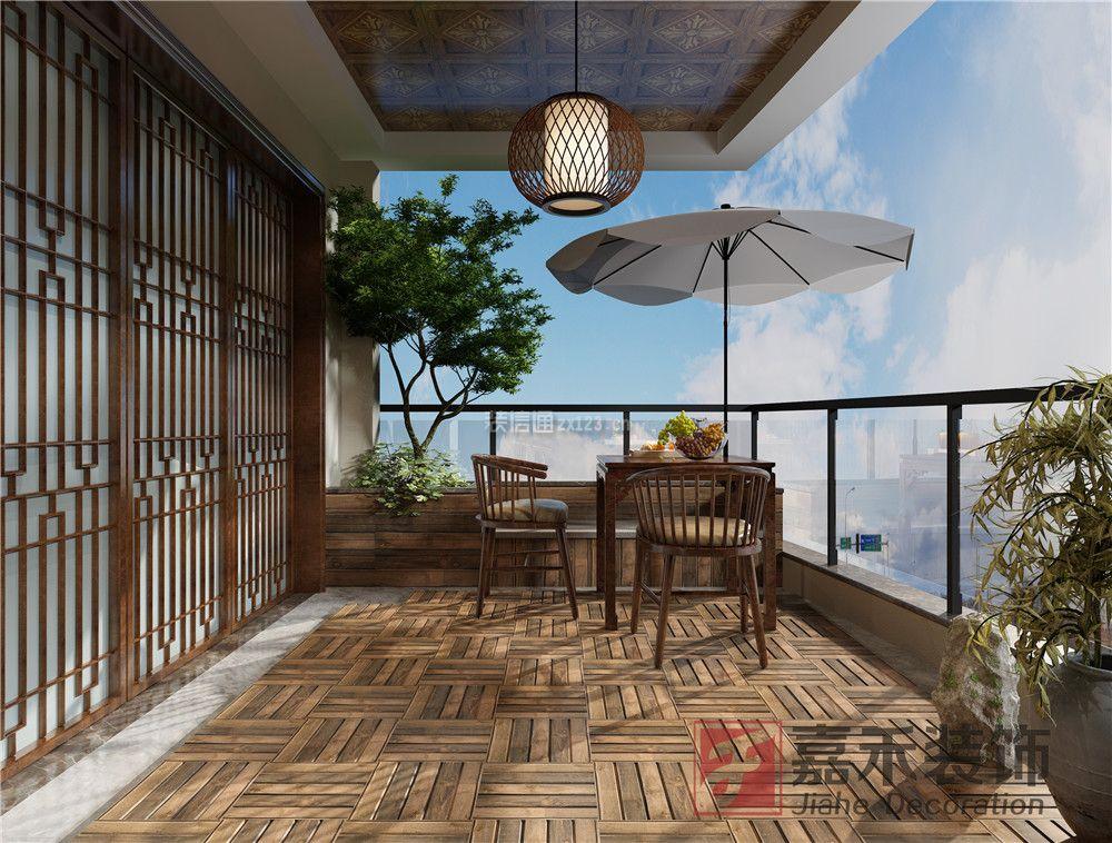 宜昌天域水岸中式風格248平米設計方案 2018家居休閑陽臺效果圖圖片