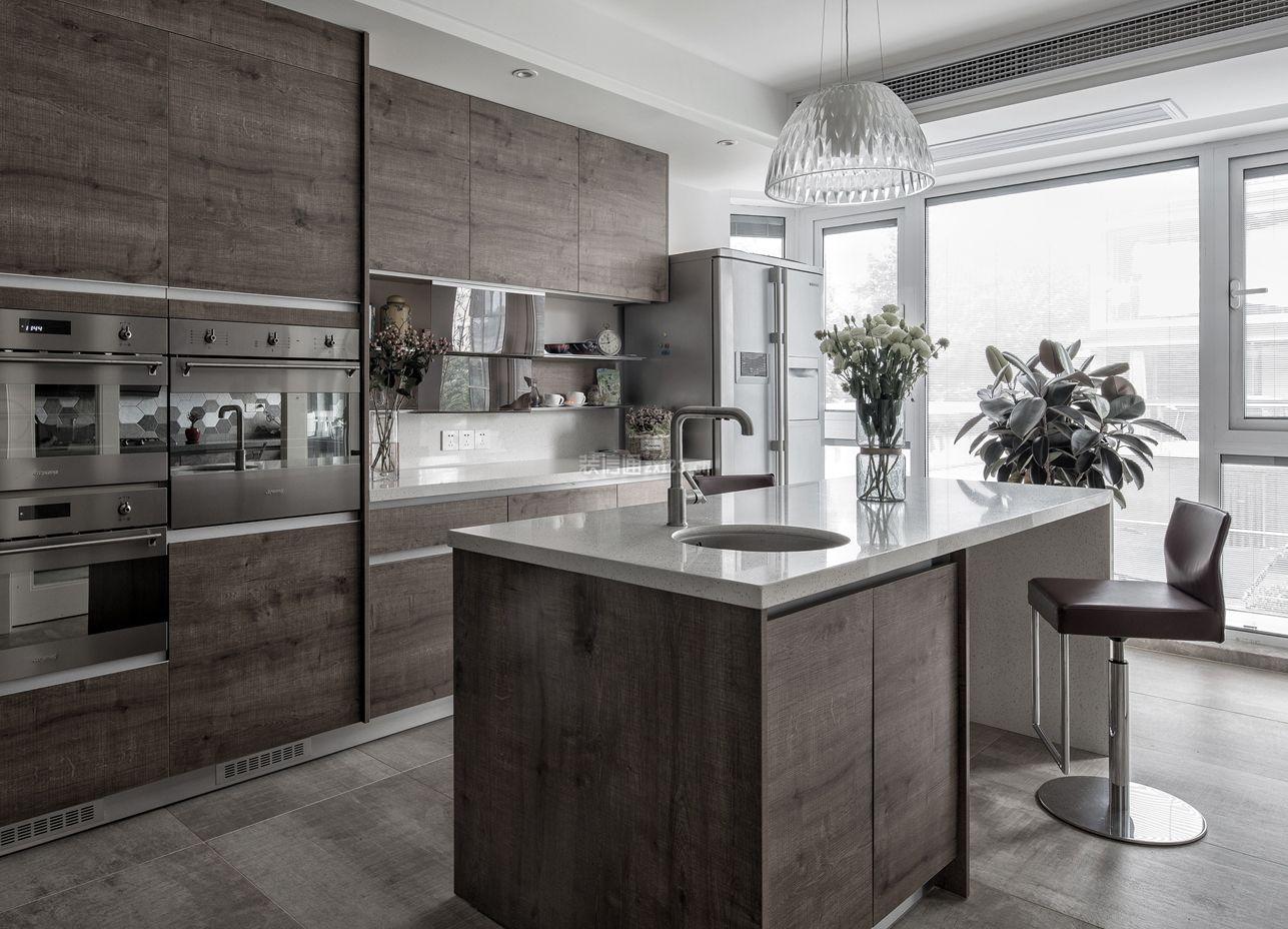 个性家装样板房厨房中岛装潢效果图_装修123效果图