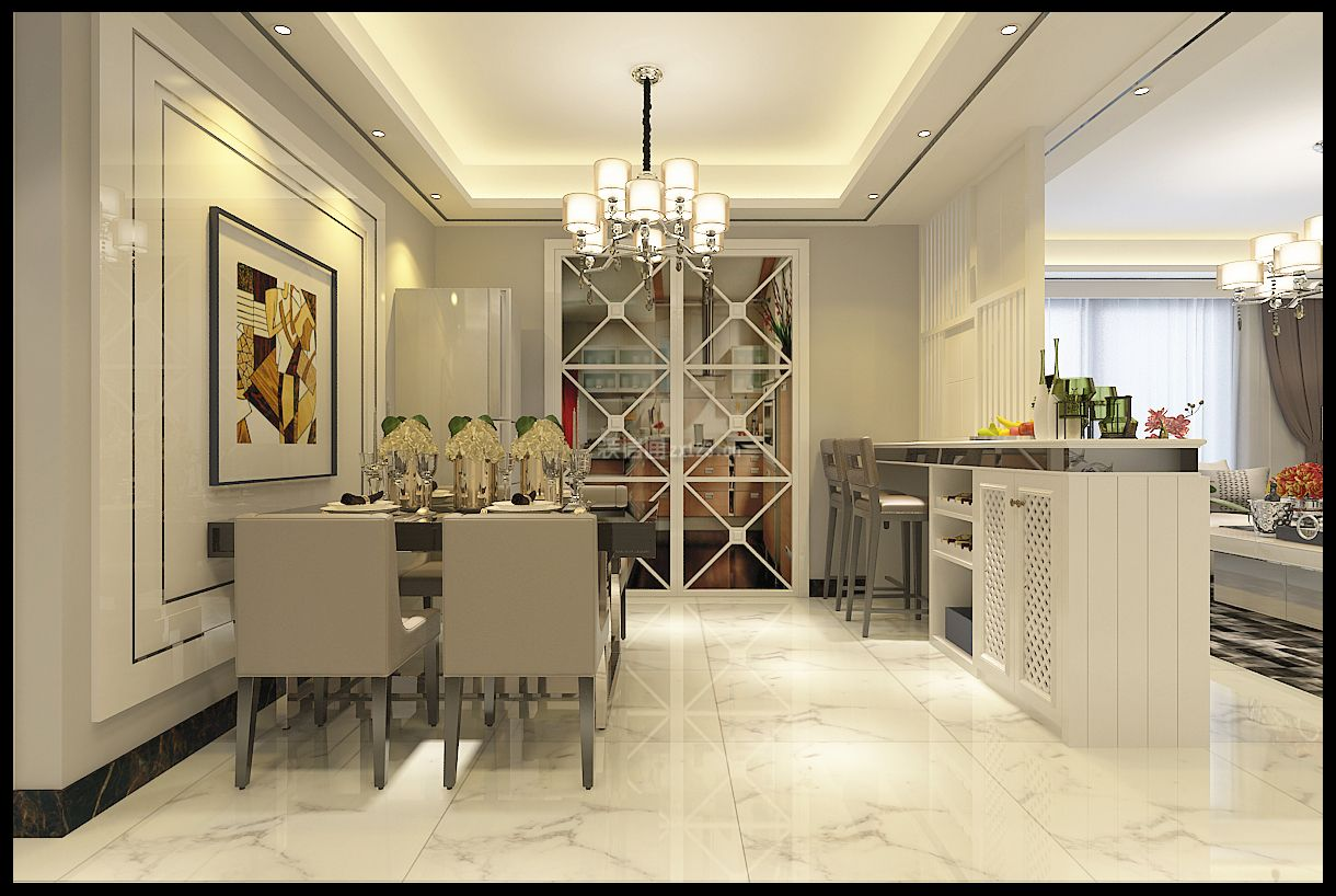 2018温馨现代风格餐厅背景墙装修效果图