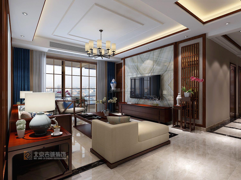 2018新中式风格客厅电视背景墙装修效果图