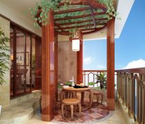 东湖花园130平米中式风格阳台装修案例