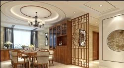 新中式風格190平米四居餐廳隔斷裝修效果圖