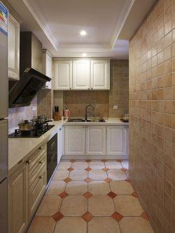 簡美式風格125平米三居室廚房櫥柜設計圖片
