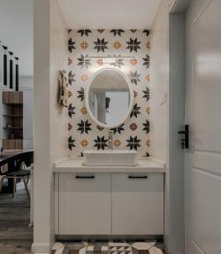 臺式風格室內洗手臺鏡子裝修圖片