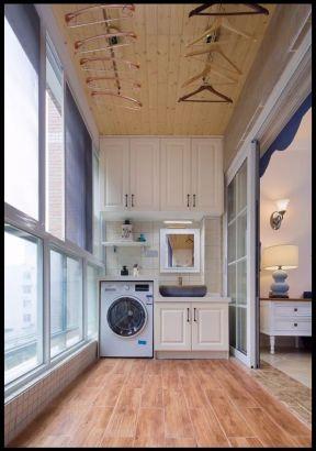 田园风格78平米二居室封闭阳台洗衣房设计图片