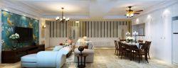 簡美式風格150平米四居餐廳實木餐桌裝修效果圖