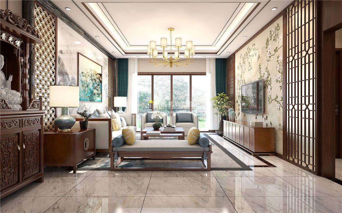 新中式别墅客厅效果图 2018新中式别墅客厅装修图