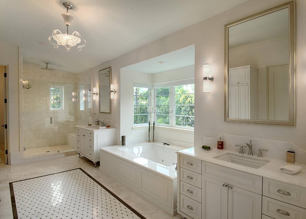 2018别墅浴室白色家装图片欣赏_装修123效果图