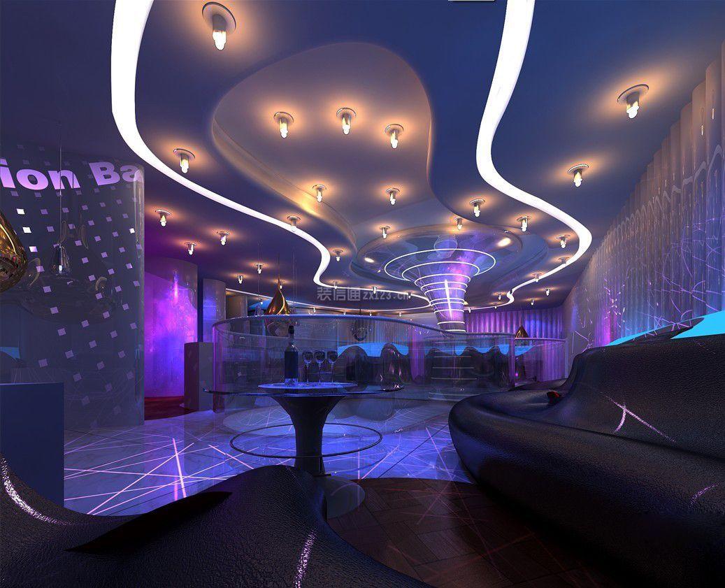现代风格酒吧包厢天花板装修效果图