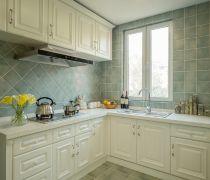 现代美式140平米四居室厨房地砖布置图片