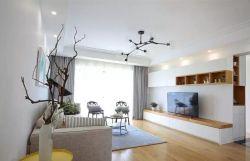 北歐簡約風格120平米三居客廳電視墻設計圖片