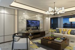 2018新中式風格三居室客廳大理石電視墻設計圖