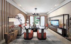新中式風格166平米四居客廳地面搭配裝修效果圖