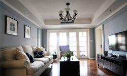 簡美式風格130平米三居客廳實木方茶幾擺設圖片
