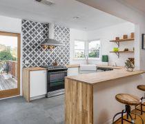 敞开式厨房背景墙砖设计装修实景图