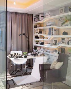 2018現代128平三居書房玻璃隔斷設計圖片