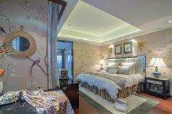 東南亞風格主臥家具床的裝飾設計圖