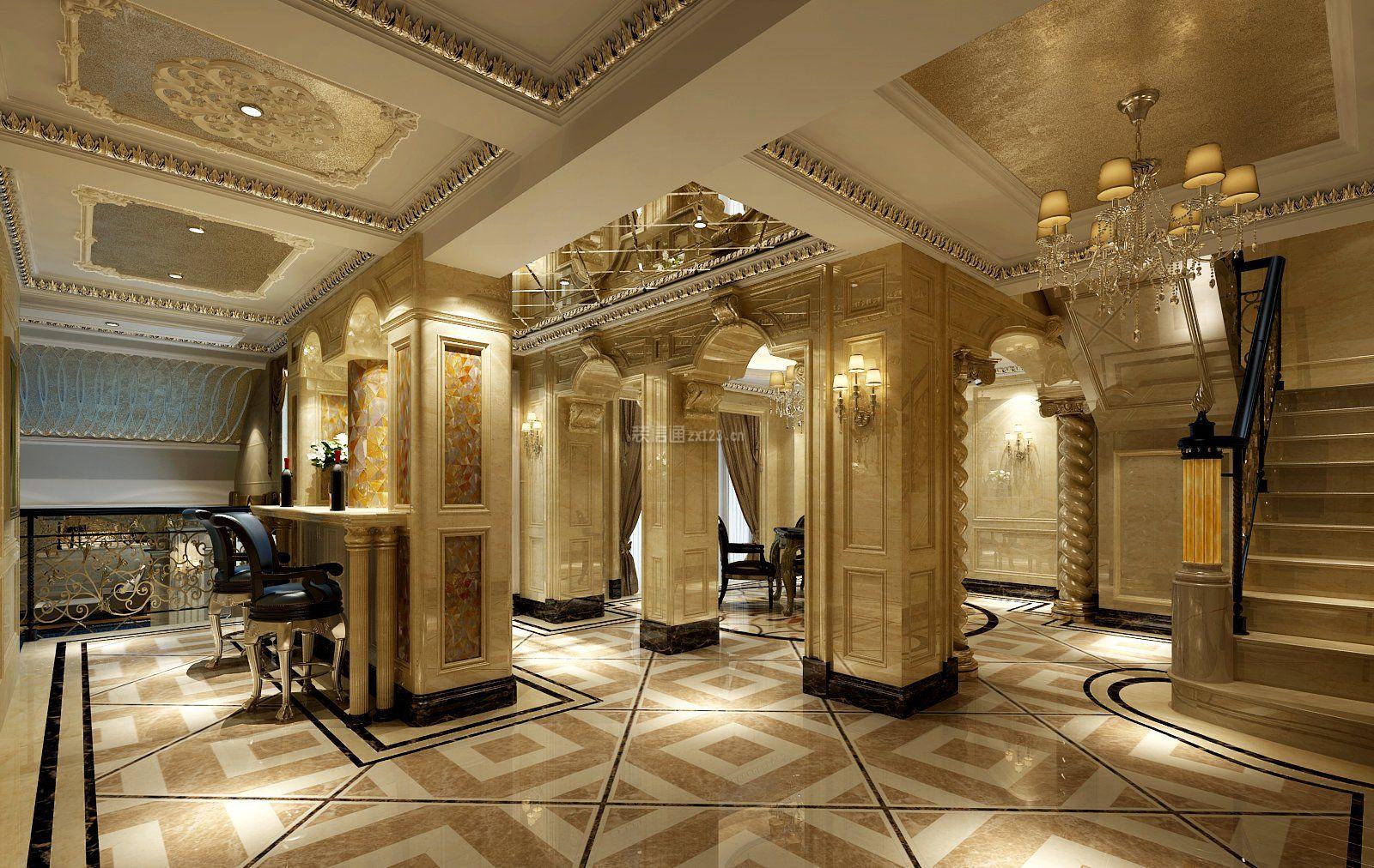 巴洛克风格别墅室内大厅装潢设计图片