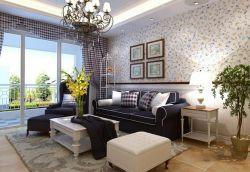地中海風格93平二居客廳沙發墻裝修效果圖