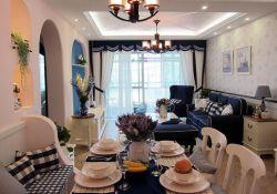地中海風格93平二居餐廳裝修實景圖片