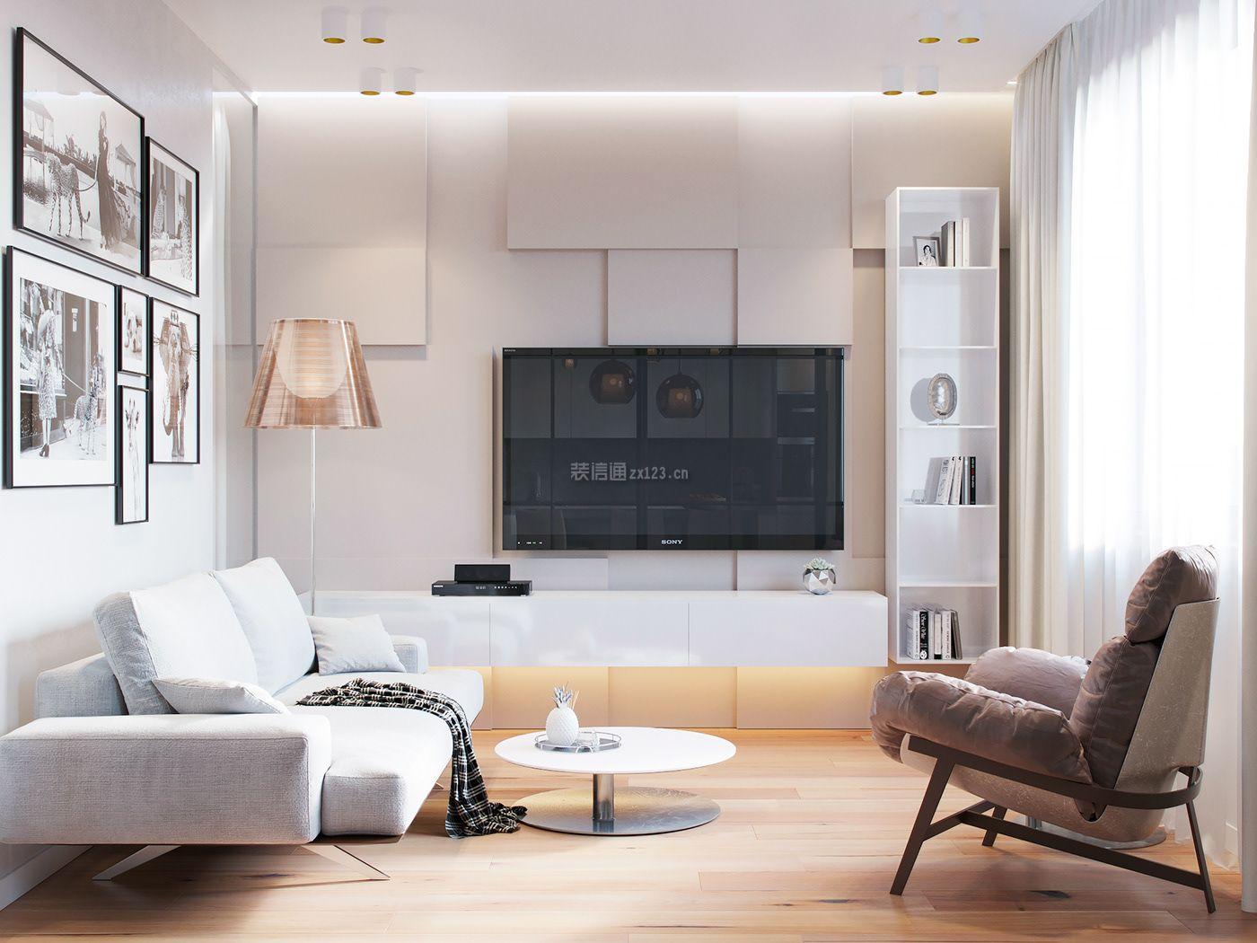 二室一厅小户型客厅电视墙装修设计图2018