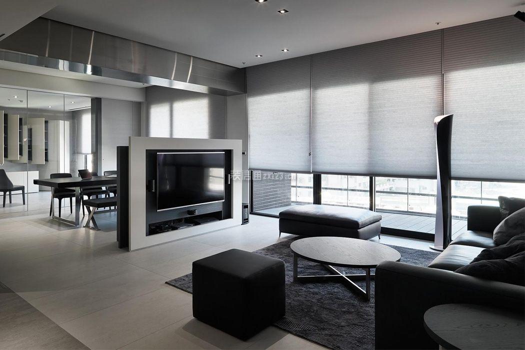 单身公寓室内半墙电视墙精装效果图