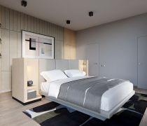 单身公寓精装卧室隐形门设计效果图