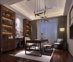 新中式風格350平別墅書房窗簾裝修效果圖