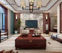 新中式150平方米四居室客厅装修效果图