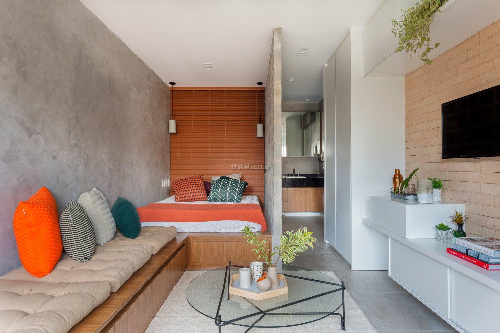 38平米小户型样板房卧室隔断墙设计图_装修123效果图