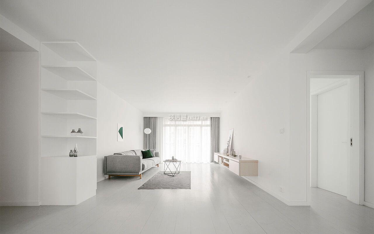 现代极简风格105平方米房子客厅设计图片_装修123效果