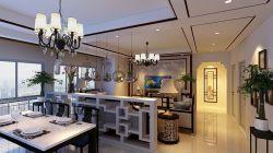 新中式140平米四居餐廳客廳隔斷裝潢效果圖