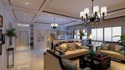 新中式140平米四居客廳吊燈裝潢效果圖