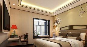 140平新中式风格四居室卧室飘窗装修效果图图片