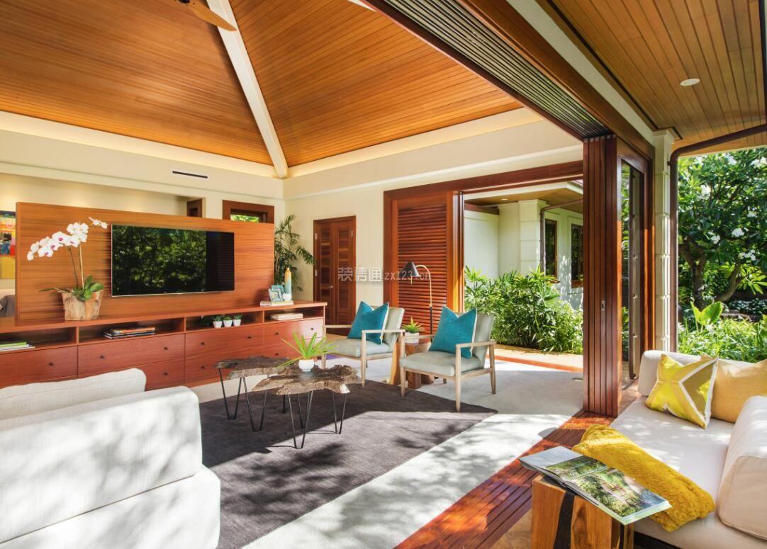 东南亚别墅客厅吊顶设计效果图赏析图片