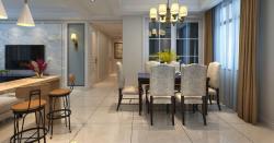 簡美式風格140平三居室餐廳裝潢設計圖