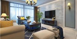 簡美式風格140平三居室客廳電視墻裝潢設計圖