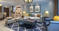 簡美式風格140平三居室客廳沙發墻裝潢設計圖
