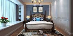 簡美式風格140平三居室臥室飄窗裝潢設計圖